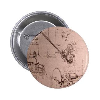 Leonardo da Vinci, drawings of machines 6 Cm Round Badge
