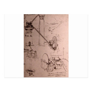 Leonardo da Vinci, drawings of machines Postcard