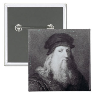 Leonardo da Vinci, engraved by Raphael 15 Cm Square Badge