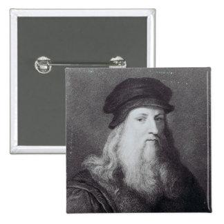 Leonardo da Vinci, engraved by Raphael 15 Cm Square Badge