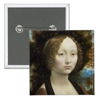 Leonardo Da Vinci Ginevra De' Benci Painting 15 Cm Square Badge