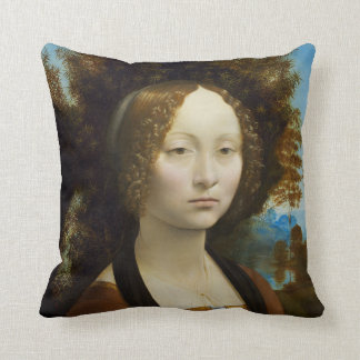 Leonardo da Vinci Ginevra de Benci Throw Pillow