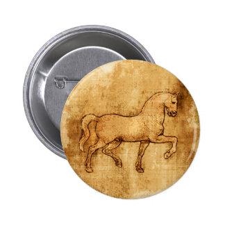 Leonardo Da Vinci Horse Art 6 Cm Round Badge