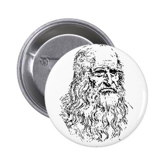 Leonardo da Vinci Line Drawing 6 Cm Round Badge