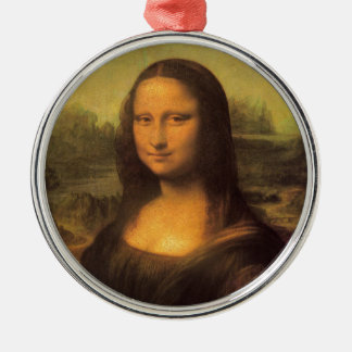 Leonardo Da Vinci' Mona Lisa Silver-Colored Round Decoration