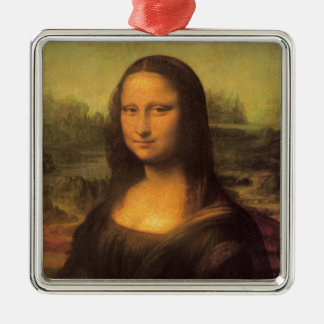 Leonardo Da Vinci' Mona Lisa Silver-Colored Square Decoration