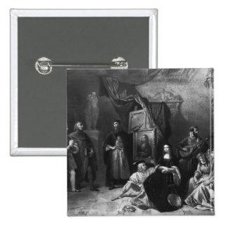 Leonardo da Vinci  painting the Gioconda 15 Cm Square Badge
