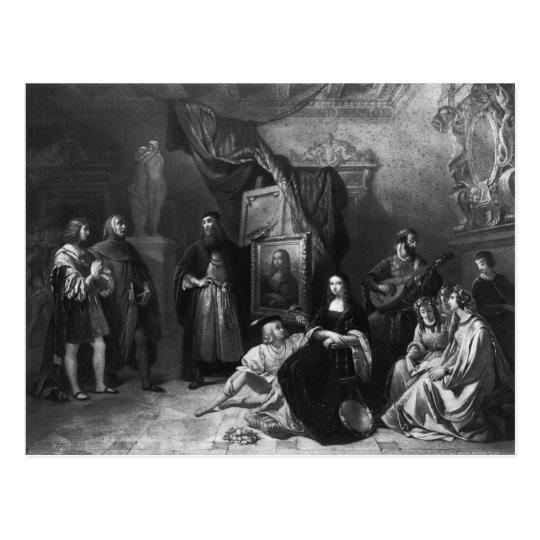 Leonardo da Vinci  painting the Gioconda Postcard