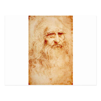 Leonardo da Vinci, purported self-portrait. Postcard