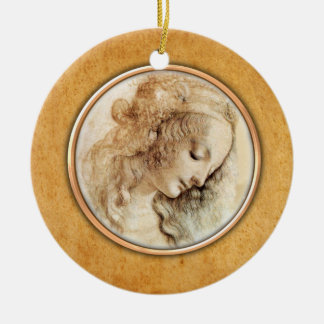 Leonardo-da-Vinci's Female Head Drawing  Ornament