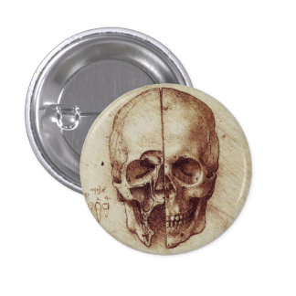 Leonardo Da Vinci skull button