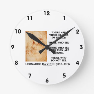 Leonardo da Vinci Three Classes Of People Quote Wall Clocks