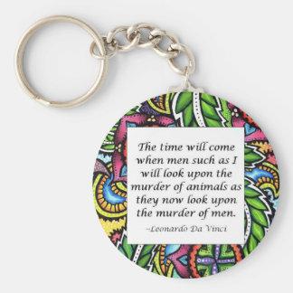 Leonardo Da Vinci vegetarian quote Basic Round Button Key Ring