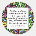Leonardo Da Vinci vegetarian quote Round Sticker