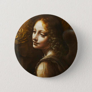 Leonardo da Vinci Virgin of the Rocks Angel 6 Cm Round Badge