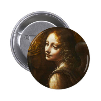 Leonardo da Vinci Virgin of the Rocks Angel 6 Cm Round Badge
