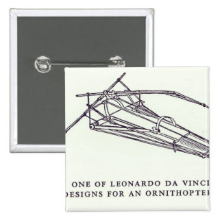 Leonardo da Vinci's designs for an Ornithopter 15 Cm Square Badge
