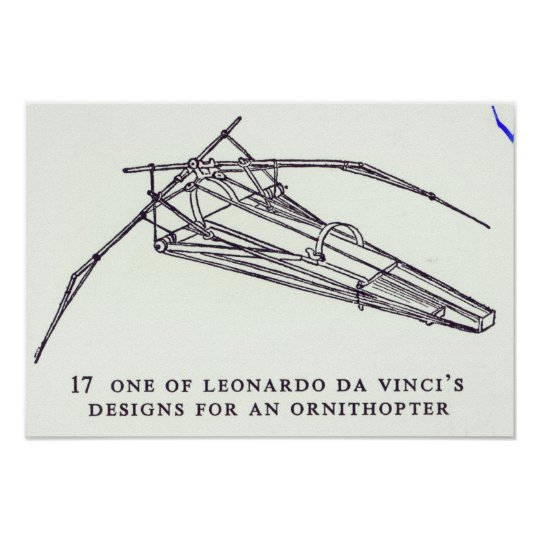 Leonardo da Vinci's designs for an Ornithopter Poster