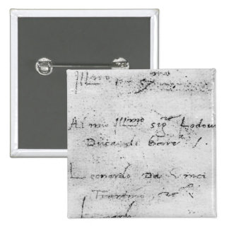 Leonardo da Vinci's handwriting 15 Cm Square Badge