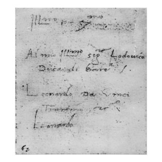 Leonardo da Vinci's handwriting Poster
