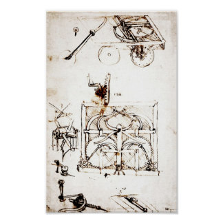 Leonardo Drawing For an Automobile Mechanisms Poster
