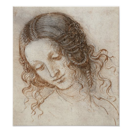 Leonardo Head of Woman Drawing Poster