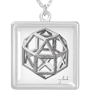 Leonardo's Polyhedra Silver Plated Necklace