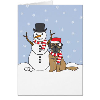 Leonberger and Snowman Card