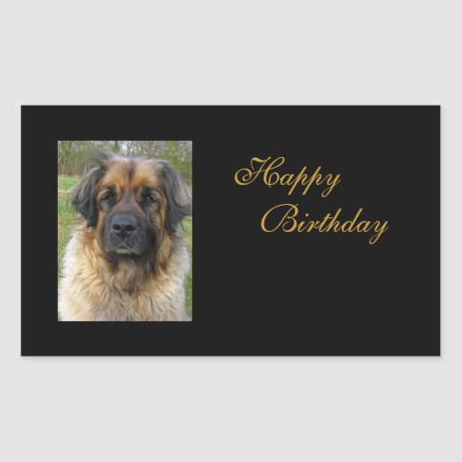 Leonberger dog happy birthday stickers