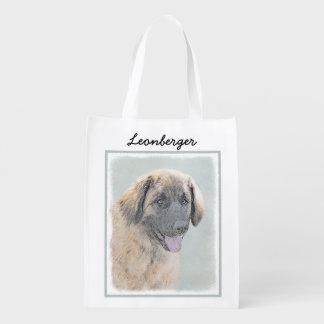 Leonberger Painting - Cute Original Dog Art Reusable Grocery Bag