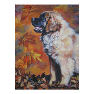leonberger puppy autumn leaves print