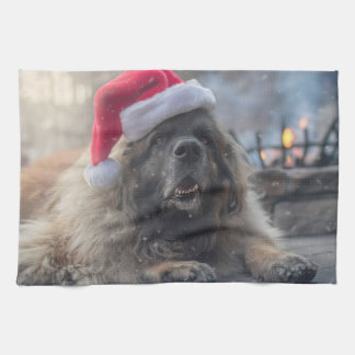 Leonberger Santa Tea Towel