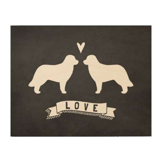 Leonberger Silhouettes Love Wood Wall Art