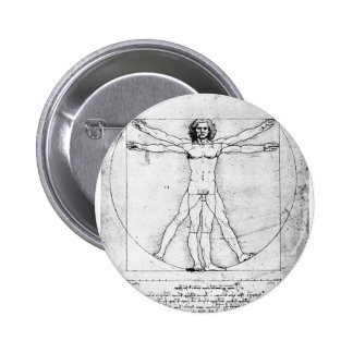 Leondardo Da Vinci Proportion Man 6 Cm Round Badge