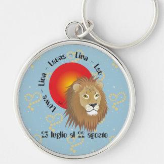 Leone 23 peeping Lio Al 22 agosto Portachiavi Silver-Colored Round Key Ring