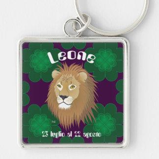 Leone 23 peeping Lio Al 22 agosto Portachiavi Silver-Colored Square Key Ring