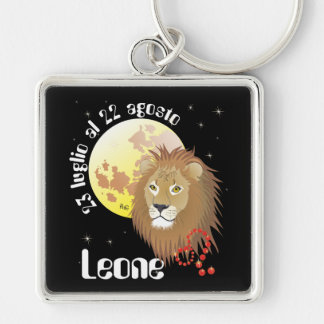 Leone 23 peeping Lio Al 22 agosto Portachiavi Silver-Colored Square Key Ring