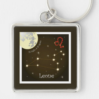 Leone 23 peeping Lio Al of 22 agosto key Silver-Colored Square Key Ring