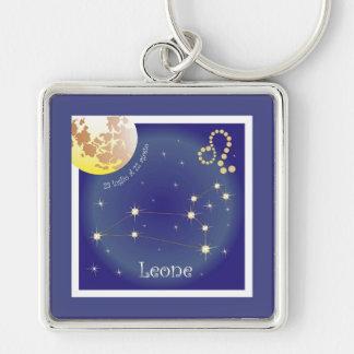 Leone 23 peeping Lio Al of 22 agosto key supporter Silver-Colored Square Key Ring