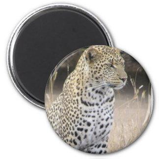 leopard 6 cm round magnet