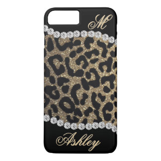 Leopard and Diamond Monogram iPhone 7 Plus Case