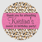 Leopard and Hot Pink Classic Round Sticker