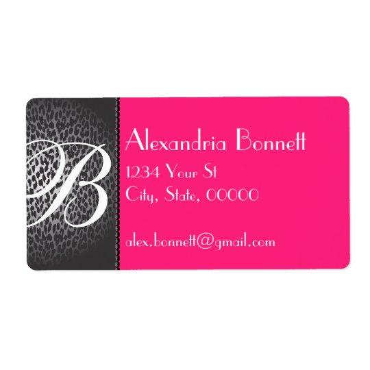 Leopard and Hot Pink Monogram Address Labels