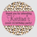 Leopard and Hot Pink Round Stickers