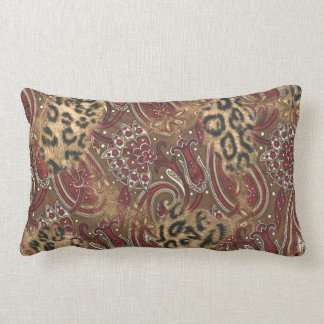 Leopard and Paisley Pattern Print Lumbar Cushion