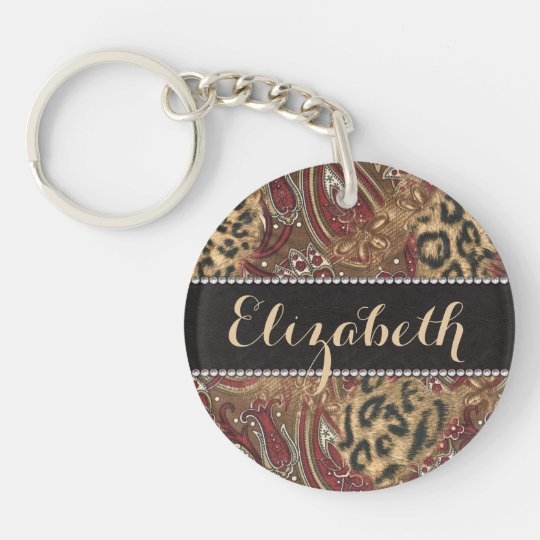 Leopard and Paisley Pattern Print to Personalise Key Ring