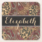 Leopard and Paisley Pattern Print to Personalise Square Paper Coaster