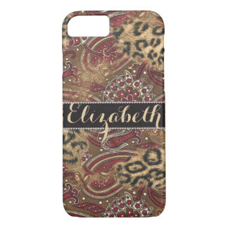 Leopard and Paisley Pattern Print to Personalize iPhone 8/7 Case