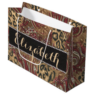 Leopard and Paisley Pattern Print to Personalize Large Gift Bag