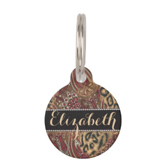 Leopard and Paisley Pattern Print to Personalize Pet Tag